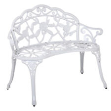 Gardeon Bench Outdoor Garden Park Chair Seat Relax Cast Aluminium Vintage White