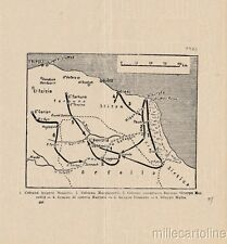 § GUERRA ITALO-TURCA - CARTINA TRIPOLITANIA 1912-13 - MOVIMENTI MILITARI