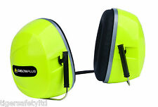 Delta Plus Silverstone 2 SNR 30dB Hi Viz Yellow Ear Defenders Ear Protectors PPE