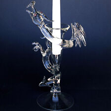 Dragon Serpent Candle Holder Blown Glass Crystal Taper