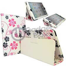 CASE FOR APPLE IPAD MINI FLOWER PINK AND GREY PRINT IN WHITE PU LEATHER COVER
