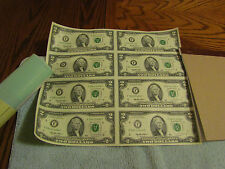1995 Uncut Sheet of 8 US 2 Dollar Bill Uncirculated $2 Bills with Mint Tube
