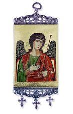 "Patron Saint St Michael Icon 9 3/4"" Textile Tapestry Banner Religious Wall Art"