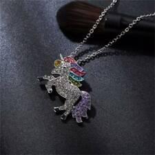 Metal Unicorn Horse Necklace Chain Pendant Rhinestone Chunky Birthday Gifts ONE