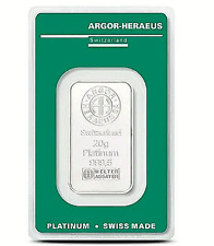 20 Gramm Platinbarren ARGOR-HERAEUS  999.5 mit Zertifikat / Aurofix