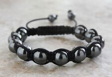 Men's 10mm Hematite Woven Shamballa Shambhala Beaded Friendship Bracelet US SHIP