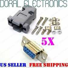5X DB9 9-Pin Female Solder Cup Connector with Plastic Hood Shell & Hardware DB-9