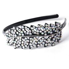 Women Black Leaf Alice Band Headband Crystal Rhinestone Plastic Hair Accessory