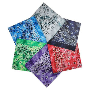 6 Pack Bandana 100% Cotton Tie Dye Print Head Neck Face Cover Scarf