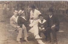 1910s Handsome young men woman boy fashion gay interest Russian antique photo