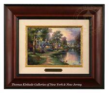 Thomas Kinkade Hometown Lake 5 x 7 Framed Brushwork (Burl Frame)