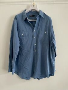 RALPH LAUREN POLO BLUE LONG SLEEVED SHIRT USED SIZE 2XB R8