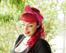 Pink Lace Hairband Retro 50's Rockabilly hair tie W/ Large Bow