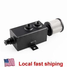 Universal Aluminum 1L Oil Catch Can Reservoir Tank + Breather Filter baffled New