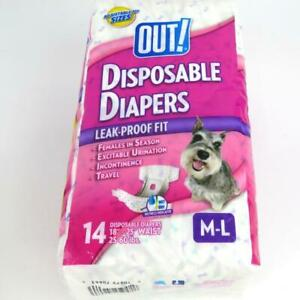 Out! Disposable Dog Diapers, M-L 25-60 lbs, New Package 14 Count!