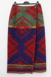 Ralph Lauren County Blue Red Green Wool Wrap Skirt Southwestern Size 10
