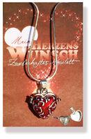 Medaillon Amulett Wunsch - Herz  mit Kette