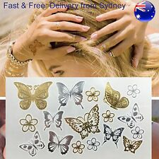 Metallic butterfly temporary Tattoo - gold & silver blossom & insect temp tatoo