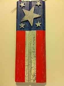 Flag Painted on Barnwood....Crackle Medium and Acrylic