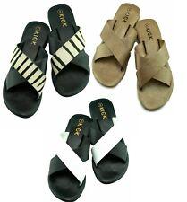 Ladies Leather Slippers Womens Post Summer Sandals Flip Flops Beach Flat Wide UK