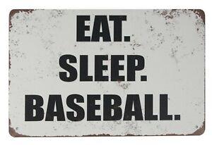decorative items for bedroom Eat Sleep Baseball tin metal sign