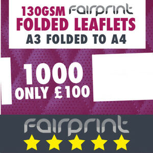 1000  Folded Leaflet and Menus / A3 to A4 / 130gsm Gloss