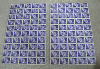 Lot of 2 Vintage Sheets of 50 Stamps 1941 42 WWII Croatia 100 Kuna