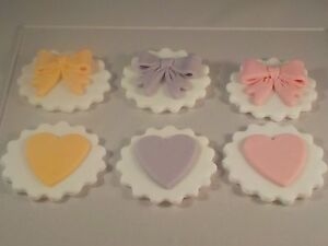 Birthday Mothers Day Set of 6 Cupcake Topper Bow and Heart Design Handmade