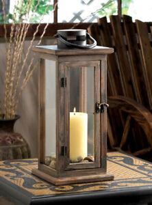 "16"" Tall Rustic Wood Metal Candle Lantern Holder Farm Style Hinged Door Patio"