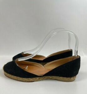 Christian Louboutin Black Canvas d'Orsay Flats Espadrilles Shoes Size 35 - 5