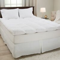 Lavish Home Duck and Down Feather Gusset Bed Topper 3 Inches Baffle Box