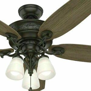 Hunter 54-inch Osbourne Ceiling Fan, Indoor, Noble Bronze with Warm Grey Blades