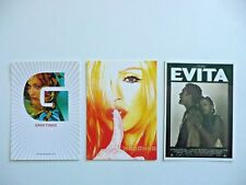 MADONNA - 3 RARE POSTCARDS (GREETINGS - GHV2 PROMO / YELLOW & RED/ EVITA -SEPIA)