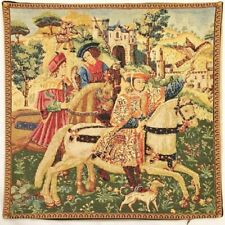 """""""DEPART CHASSE"""", HUNT DEPARTURE BELGIAN TAPESTRY CUSHION COVER, 18"""" X 18"""", 01447"""