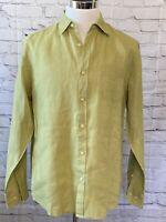 Sz M Tommy Bahama Costa Sera Linen Button Down Shirt Mens Green T34086 $110 EUC