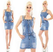Abito corto donna elasticizzato jeans blu chiaro zip vestito bottoni nuovo
