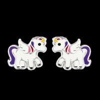 925 Sterling Silver Unicorn Stud Earrings Pink Purple Tail Wing Women Children