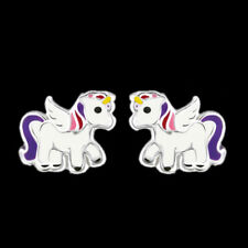 925 Sterling Silver Unicorn Stud Earrings Pink Purple Tail Wing Women Children