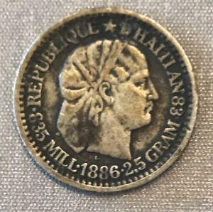 HAITI 1886-A SILVER 10 CENTIMES KM-44 LIBERTY PORTRAIT TYPE AN-83 1 ONE DIME