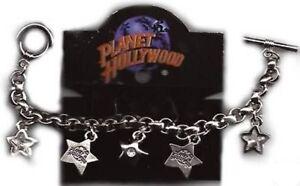 Planet Hollywood Logo Chram Bracelet Swarovski Crystals, Silver Plated, NEW