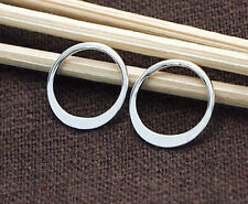 925 Sterling Silver 6 Circle Links, Connectors 12 mm.