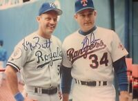 Nolan Ryan / George Brett Autograph Signed 8x10 Photo ( HOF Rangers ) REPRINT
