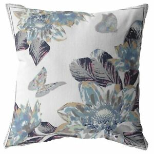 Honey Butterfly Double Sided Suede Pillow, Zippered, Gray on White