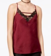 Gypsy and Moondust Lace-Trim Lattice Camisole GARNET RED Size S