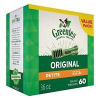 GREENIES Dental Dog Treats, Petite, Original Flavor, 60 Treats, 36 oz.