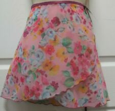 "Pink Floral Ballet Wrap Skirt 15"" Body Wrappers 980 Ladies Small/Medium NWT"