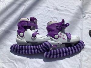 DBX Girls' Adjustable Skates Purple and white US size 9J - 12J
