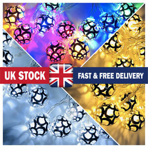 20LED String Lights Moroccan Silver Ball Fairy Decoration Party Battery Powered