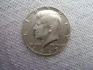 1967  KENNEDY SILVER HALF-DOLLAR....  NO MINT MARK................... B.B