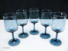 "Lenox Crystal Blue Mist WINE GLASS SET OF 5 Expression Line Model 6.25"" tall"